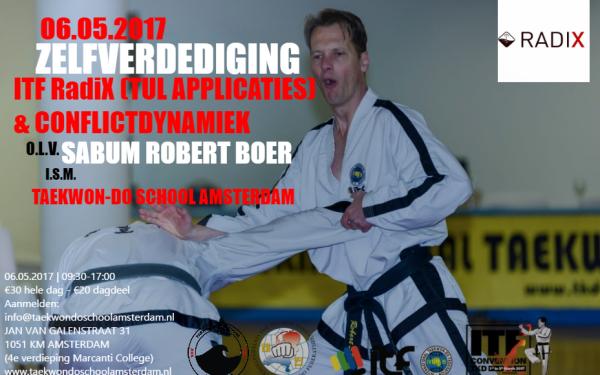 Flyer Zelfverdediging met Robert Boer 6 mei 2017